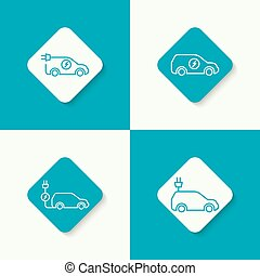 Icon of a hybrid car - Sets icons of a hybrid car that runs...