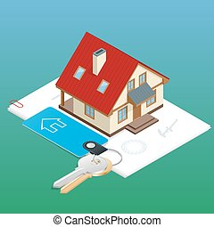 Real estate design concept set with online search apartment rental market buying flat 3d isometric isolated vector illustration.