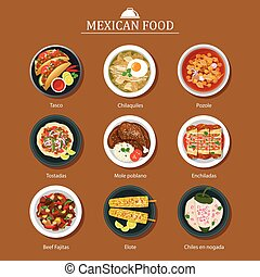 alimento, plano, diseño, Conjunto, mexicano