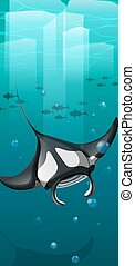 Manta ray swimming under the ocean illustration