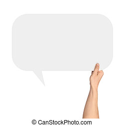 Hand holding a white blank rectangular speech bubble on an isolated white background