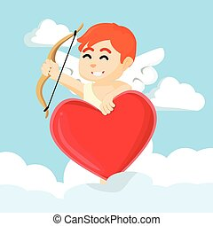 cupid with heart shaped sign
