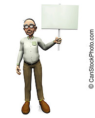 Old friendly man holding blank sign. - A friendly smiling...