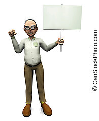 Old angry man holding blank sign.