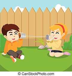 boy and girl communicate with string phone