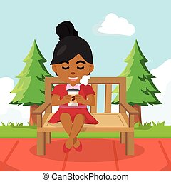 a girl drinking coffee on bench