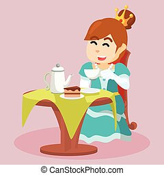 princess drinking tea and eating cake