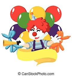 a clown is carrying banners and balloons