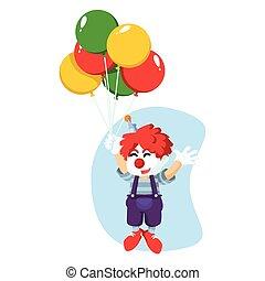 balões, voando, era, Palhaço