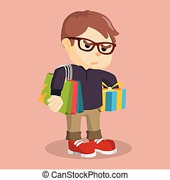 boy carrying shoping bag and gift