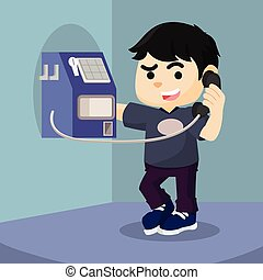 boy using payphone  cartoon illustration