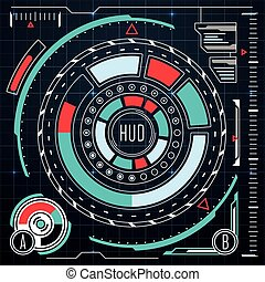 Futuristic user interface elements vector set. HUD ui for...