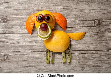 perro, hecho, de, frutas, en, de madera, escritorio,