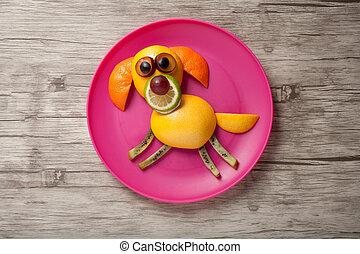 placa, hecho, de madera, escritorio, perro, frutas