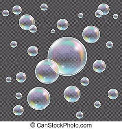 Realistic transparent vector soap bubbles with rainbow reflection and glares on checkered background