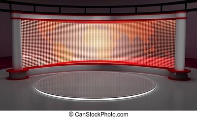 News TV Studio Set- 147 - News TV Studio Set 147-Virtual...