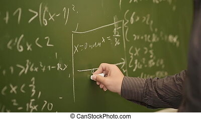 Student writing mathematical formula on blackboard