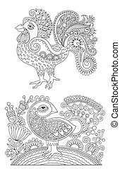 original black and white line art rooster drawing, page of...