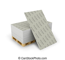 Stack drywall sheets stacked on wooden pallets, isolated...