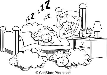 sheep fall asleep on the bed of a sleeping man - vector...