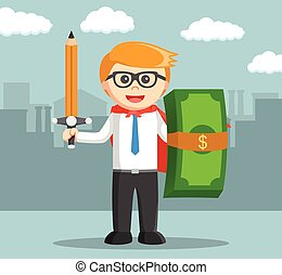 Business man with pencil weapon and