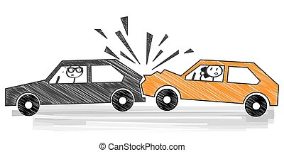 car crash - vector illustration - Distracted driving is a...