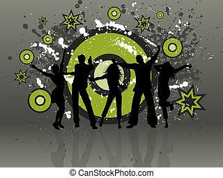 Grunge party - Silhouettes of people dancing on a grunge...