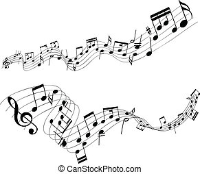Abstract music notes - Abstract designs of music notes on a...
