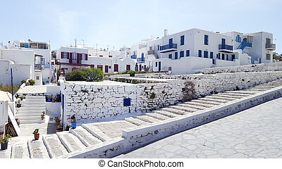 Traditional architecture in the town of Mykonos
