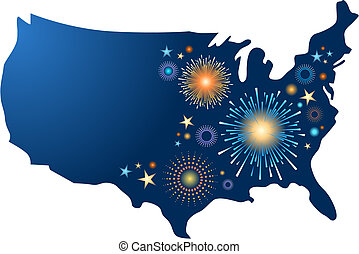 USA map with fireworks - USA map outline with fireworks