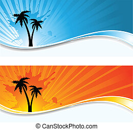 Palm tree backgrounds - Silhouettes of palm trees on grunge...