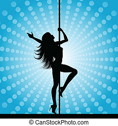 pole dancer  - Silhouette of a sexy pole dancer