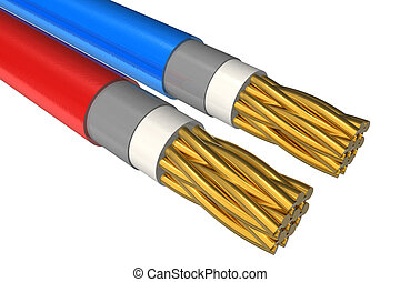 High voltage power cable close-up