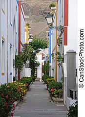 mogan,  De, canario, calle, magnífico,  Puerto, españa