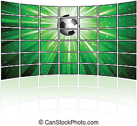 Tv screens with football image - Wall of tv screens with a...