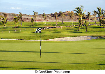 Golf course in tropical resort