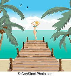 Sea landscape summer beach, old wooden pier. Blonde woman...