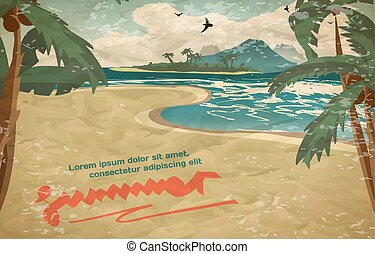 Summer vacation concept background with space for text in vintage style. Vector cartoon illustration. Sea landscape summer beach, palms, sand. ?oastline stretches into distance with a sandy beach