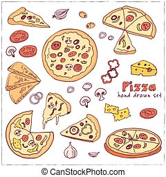 Vector hand drawn set with pizza.