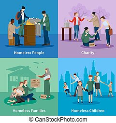 Homeless Icons Set - Homeless icons set with people warm...