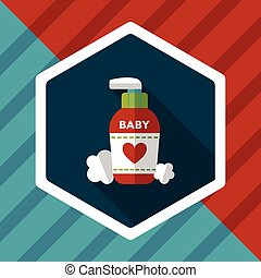 baby cosmetics flat icon with long shadow,eps10