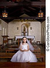 Llevando, joven, comunión, iglesia, niña, Vestido, primero