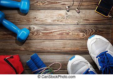 deporte, llenar, en, de madera, tabla, cima, vista,