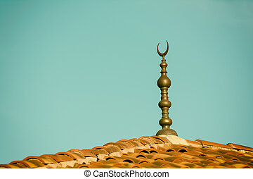 Islamic Religion Crescent Moon Sign On Mosque