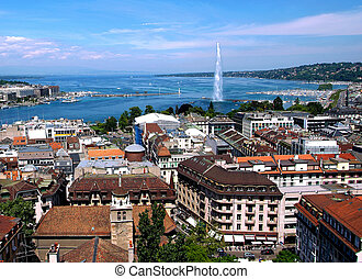 General view of Geneva - The city of Geneva, the Leman Lake...