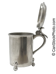 Antique pewter beer jug with lid on white background