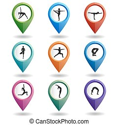 Map pointers with yogi - Vector yoga illustration...