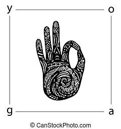 Yoga illustration, zentangle style - Vector yoga...