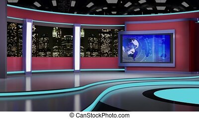 News TV Studio Set - - News TV Studio Set 148 - Virtual...