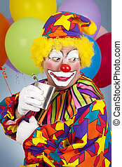Alcoholic Clown - Circus clown sneaks a little nip of booze...